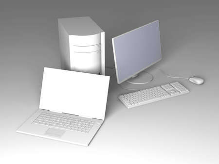 Laptop and Desktop PC Stock Photo - 5785802