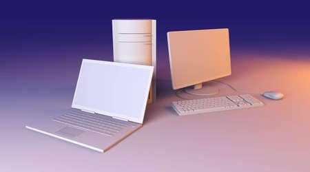 Laptop and Desktop PC Stock Photo - 5881780