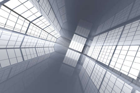 metall and glass: 3D rendered Illustration. Hallway Architecture Stock Photo
