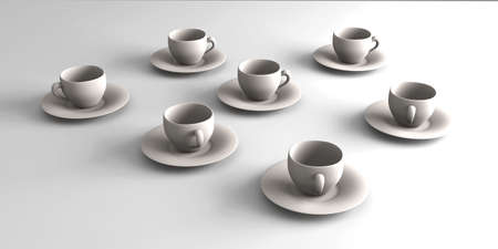 stimulant: 3D rendered Illustration. Coffee or Tea cups.