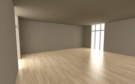 unfurnished: Interior Visualisation. 3D rendered Illustration.