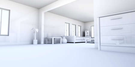 visualisation: 3D rendered Illustration. Interior Visualisation.