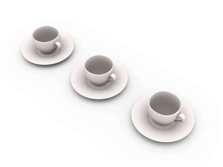 3D rendered Illustration. Coffee or Tea cups. illustration