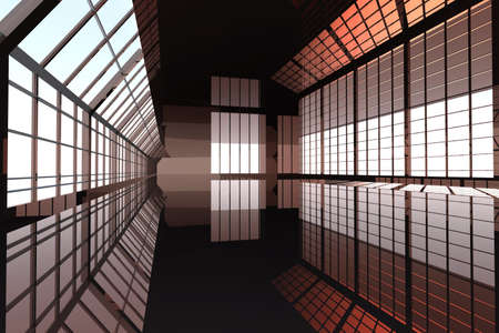 Hallway Architecture. 3D rendered Illustration. Stock Illustration - 6274170