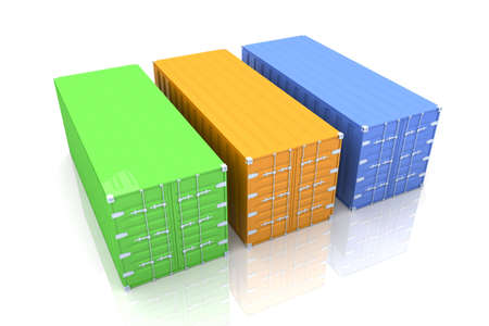 seafreight: Containers. 3D rendered Illustration.