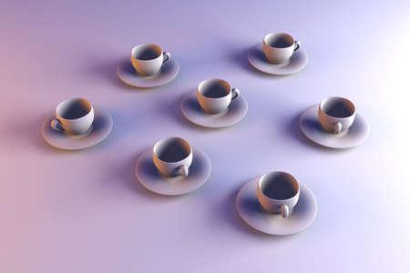 cofffee: 3D rendered Illustration. Coffee or Tea cups.
