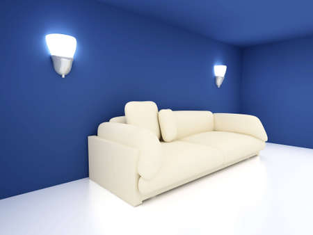 lamplight: 3D rendered Interior. A Sofa in a blue room. Stock Photo