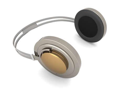 3D rendered Illustration. Chrome / Silver Headphones. Isolated on white. Stock Illustration - 6494449