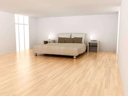bedside: 3D rendered Illustration. Interior Scene. Stock Photo