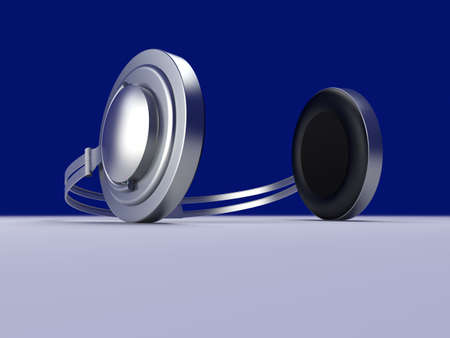 3D rendered Illustration. Chrome / Silver Headphones. Stock Illustration - 6542767