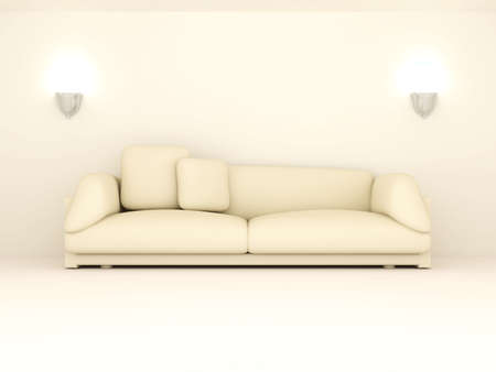 living room wall: 3D rendered Interior. A Sofa in a beige room. Stock Photo