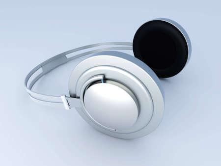 3D rendered Illustration. Chrome / Silver Headphones. Stock Illustration - 6619027