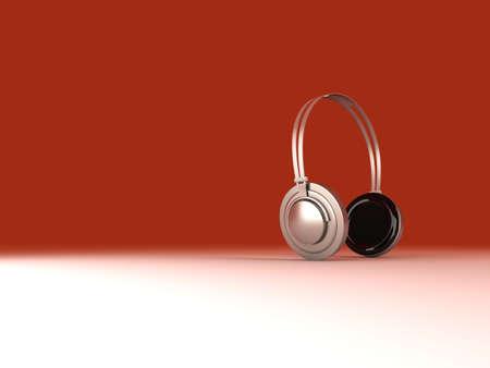 3D rendered Illustration. Chrome / Silver Headphones. Stock Illustration - 6722623