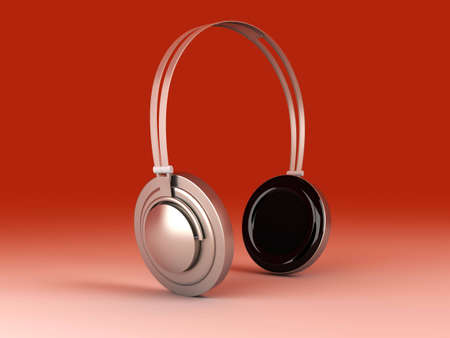 3D rendered Illustration. Chrome / Silver Headphones. Stock Illustration - 6722595