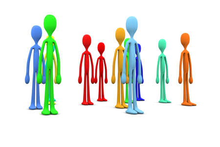 clique: 3D rendered Illustration. A community of  diversity. Isolated on white. Stock Photo