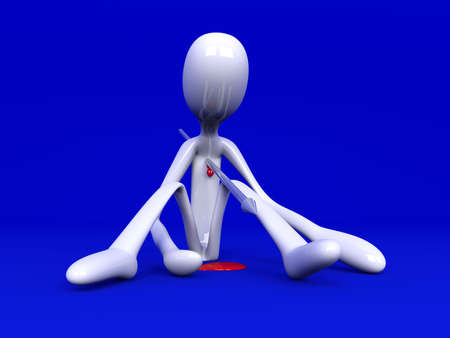 character assassination: 3D rendered Illustration. Got killed by a speer. Stock Photo