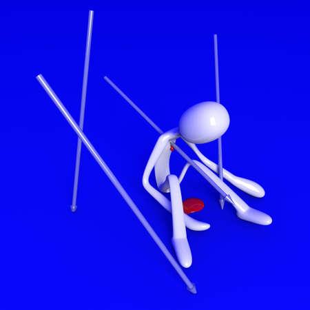 killed: 3D rendered Illustration. Killed by a speer.