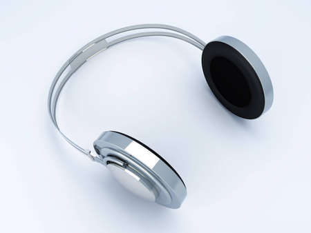 3D rendered Illustration. Chrome / Silver Headphones. Stock Illustration - 6766112