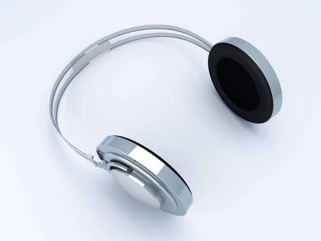 3D rendered Illustration. Chrome / Silver Headphones. Stock Illustration - 6766112
