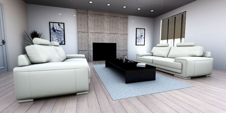3D rendered Illustration. Interior visualisation of a living room. Stock Illustration - 6857250
