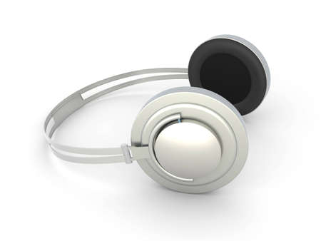 3D rendered Illustration. Chrome / Silver Headphones. Isolated on white. Stock Illustration - 6857185