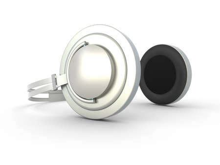 3D rendered Illustration. Chrome / Silver Headphones. Isolated on white. Stock Illustration - 6857194