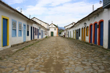 Empty street in the famous town of Parati, State of Rio de Janeiro. photo