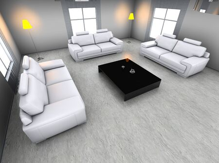 3D rendered Illustration. Interior visualisation of a living room. Stock Illustration - 7096648