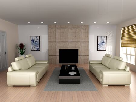 3D rendered Illustration. Interior visualisation of a living room. Stock Illustration - 7139788