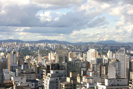 Skyline view from Higienopolis, Sao Paulo, Brazil. Stock Photo