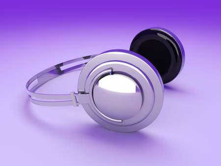 3D rendered Illustration. Chrome / Silver Headphones. Stock Illustration - 7172288