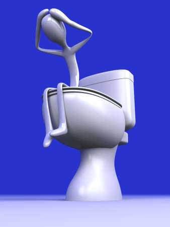 watercloset: 3D rendered Illustration. Being Sad in the restroom.