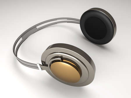 3D rendered Illustration. Chrome  Silver Headphones.