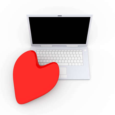 trackpad: 3D Illustration. Heart and a Laptop.