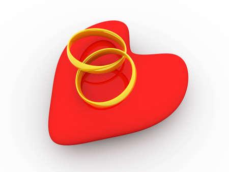 Marriage symbol. 3D rendered Illustration.
