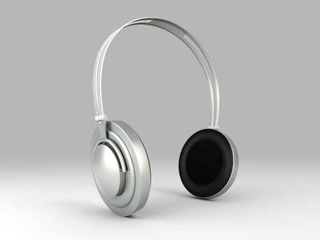 3D rendered Illustration. Chrome / Silver Headphones. Stock Illustration - 7397383