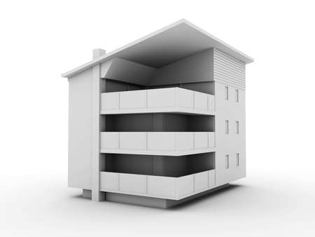 building exterior: 3D rendered Illustration.