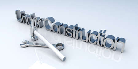 hardware configuration: 3D Illustration. Website is under construction. Stock Photo