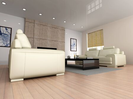 3D rendered Illustration. Interior visualisation of a living room. Stock Illustration - 7494767