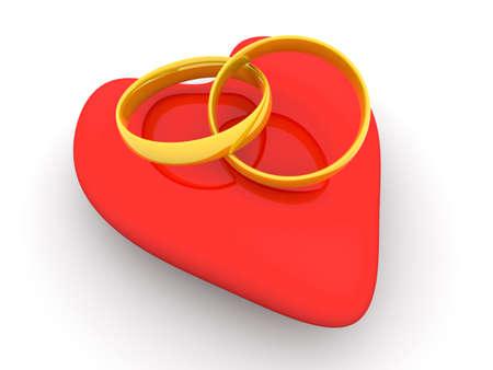spousal: Marriage symbol. 3D rendered Illustration.