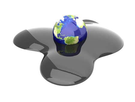 oil spill: 3D rendered Illustration. Isolated on white. Stock Photo