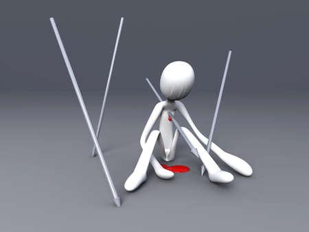 3D rendered Illustration. Got killed by a speer. illustration
