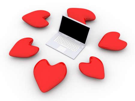 3D Illustration. Hearts and a Laptop. illustration