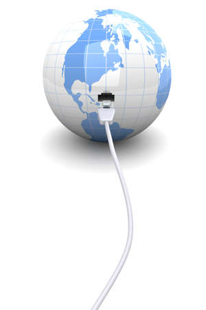3D rendered Illustration.  connected globe. Stock Photo