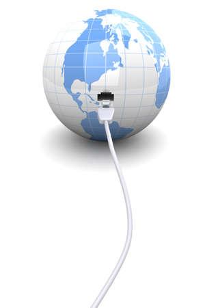cable red: 3D representa la ilustración. mundo conectado.