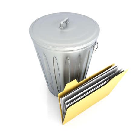 eliminate waste: Trash Document. 3D rendered Illustration. Isolated on white.