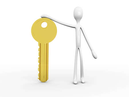 watchman: 3D rendered Illustration. Holding the Key. Stock Photo