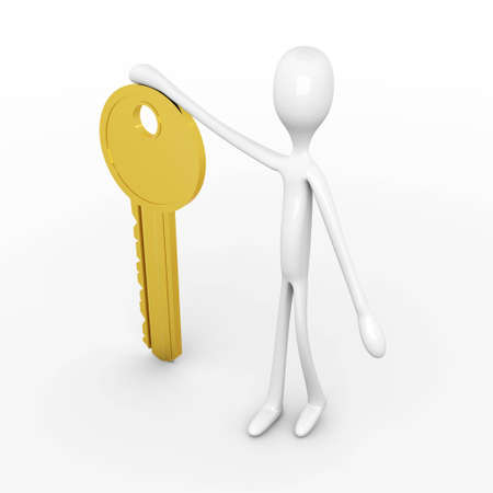 the watchman: 3D rendered Illustration. Holding the Key. Stock Photo