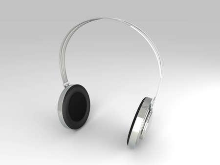 3D rendered Illustration. Chrome  Silver Headphones. illustration