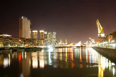 Nightly panorama of the Puerto Madero in Buenos Aires, Argentina.
